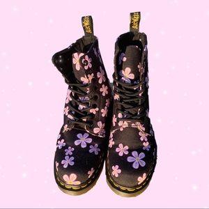 Pink, Floral, Dr. Martens